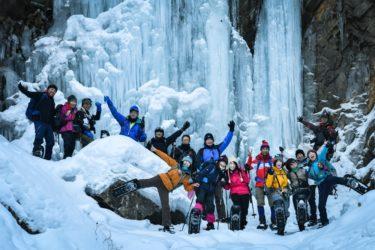 【ノシ滝スノトレ レポ】雪が少なめでも…偉大な氷瀑と秘湯